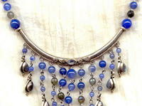 Blue Agate Labradorite Sterling Silver Handcrafted Cascade Necklace