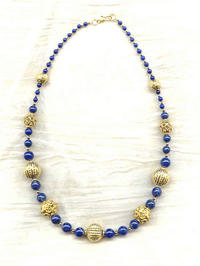 Lapis Lazuli and Gold Graduated Necklace