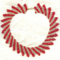 Red and Gold Netted Bead Collar with Crystal Embellishment