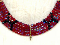 Siam Ruby and Jet Crystal 5-Strand Collar Necklace