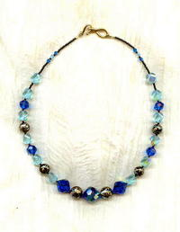 Vintage Swarovski Capri Blue Crystal and Japanese Tensha Bead Necklace