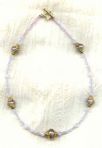 Orchid and Gold Dichroic Beads and Swarovski Crystal Necklace