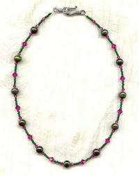Vintage Deep Green and Fuchsia Lampwork and Swarovski Crystal Necklace