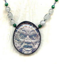 Green Man Polymer Image Pendant with Rutilated Agate Beads
