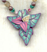 Misty Green and Rose Polymer Clay Triad Pendant Necklace