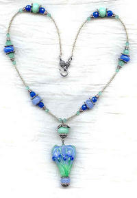 Periwinkle and Jade Lampwork Glass Heart and Iris Pendant Necklace