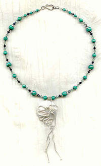 One of a Kind Artisan Original SS Pendant, Malachite and Crystals