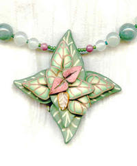 Green and Rose Polymer Clay and Semi-Precious Stone Pendant Necklace