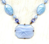 Vintage Pale Blue Satin Glass Art Deco Starburst Pendant Necklace