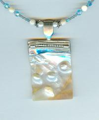 Blister Pearl and Swarovski Capri Blue Crystal Pendant