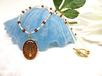 Pendant Beaded Necklace Amber Intaglio Peacock