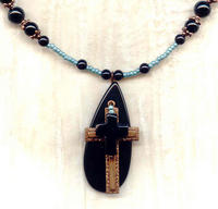 Layered Black Onyx and Copper Cross Pendant Necklace