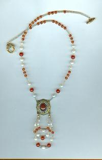 Vintage Vermeil Carnelian and Pearl Pendant Necklace