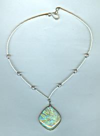 HONEYCOMB: Delicate Pastel Yellow and Pink Dichroic Pendant Necklace