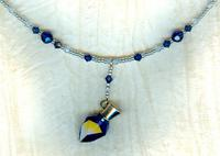 Dark Sapphire Vintage Swarovski Crystal Scent Bottle Pendant Necklace