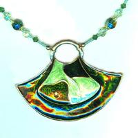 Forest Green Tribal Crescent Pendant Necklace