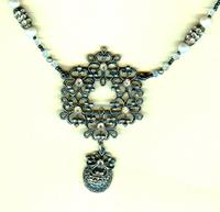 Upcycled Pendant Necklace Vintage Look Freshwater Pearls Gunmetal