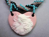 Sweet Heart Porcelain Cameo Pendant Necklace