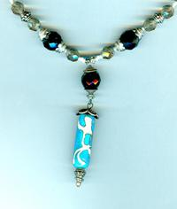 Unique Handmade Turquoise, Earthtones Lampwork Glass Pendant Necklace