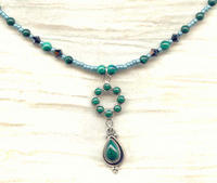 Dainty Malachite and Swarovski Crystal Pendant Necklace