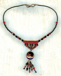 Red, Black and Copper Lampwork and Ndbele Tassel Necklace