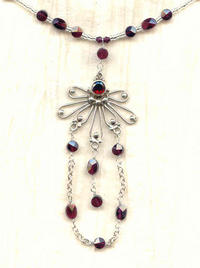 Faceted Garnet and Sterling Silver Pendant Necklace