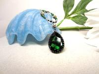 Dark Moss Green Swarovski Crystal Teardrop Pendant Beaded Necklace