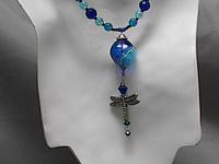Hand Blown Glass and Artisan Beaded Pewter Dragonfly Pendant Necklace