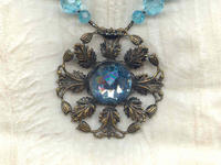 Vintage Swarovski Aqua Crystal Pendant and Beads