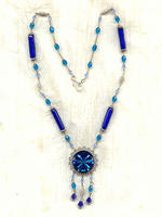 SHOOTING STAR: Vintage Blue Glass Starburst Pendant Necklace