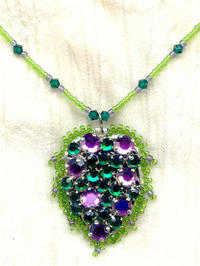 ARTISAN PENDANT NECKLACE: Vintage Heliotrope and Emerald Crystal