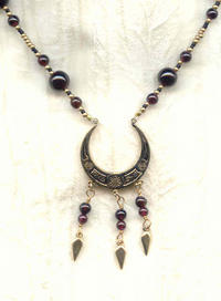 Garnet Fringed Pendant Necklace