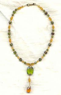Olive Green and Topaz Pendant Necklace with Designer Focal