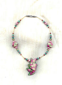 LEAF SPLASH: Choker Necklace with Asymmetrical Polymer Clay Pendant