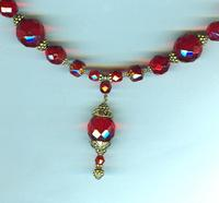 Tangiers Red Antiqued Gold Handcrafted Pendant Necklace