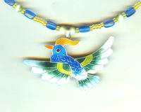 Hand Beaded Sterling Silver Kingfisher Totem Pendant Necklace