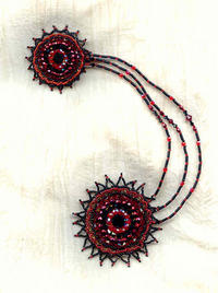 CRYSTAL FANTASY: Red and Jet Black Double Brooch