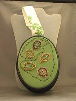 Beaded Leaves Appliqued on Oval Green Purse Handbag