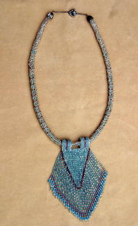 Beadwoven and Fringed Pendant Necklace
