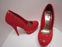 Christmas Red Pumps Faux Suede Gold Beaded - Size 6