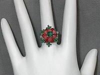 Coral and Emerald Domed Woven Beaded Ring