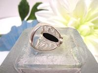 Ring Sterling Silver Swirl Mount Black Onyx Cabochon