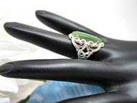 Sterling Silver Ring Nephrite Jade Stone Ornate Hand Set