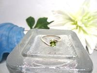 Sterling Silver Ring Faceted Peridot August Birthstone Size 7