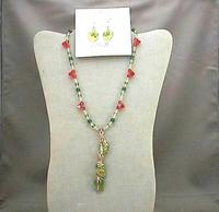 Buds of May Jewelry Set: Coral Swarovski Crystals and Green Leaves