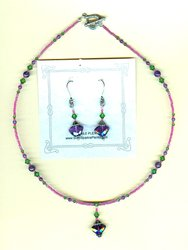 Faceted Amethyst Gemstone Pendant Necklace and Earrings Set