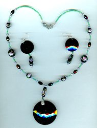 Black and Lavender Exotic Glass Necklace and Earrings Set