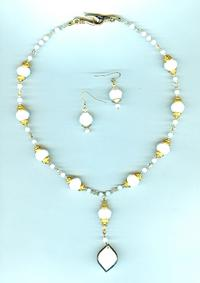 Vintage Opaque White and Gold Crystal Necklace and Earrings Set