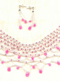 Netted Collar and Earring Set with Faceted Rhodochrosite Drops