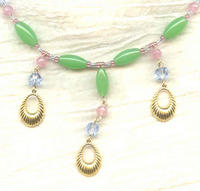 Spring Green, Pink and Pale Blue Necklace and Earrings Set